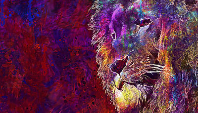 Digital Art - Lion Abstract Modern Painting by PixBreak Art