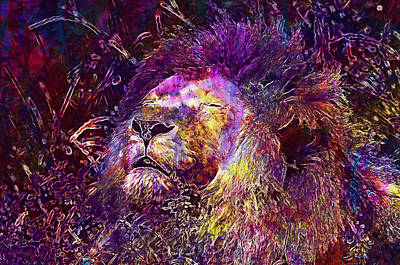 Digital Art - Lion Abstract Painting by PixBreak Art