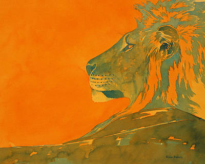 Watercolor Painting - Lion by Alison Nicholls