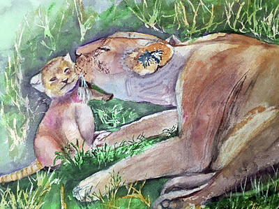 Painting - Lion And Cub by Lynne Atwood