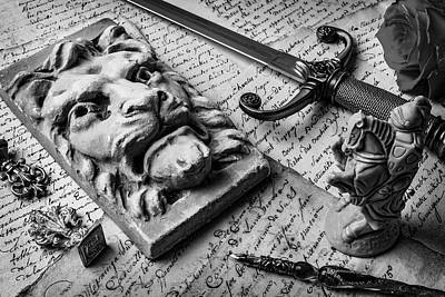 Knight Photograph - Lion And Dagger In Black And White by Garry Gay