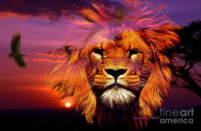 Photograph - Lion And Eagle In A Sunset by Annie Zeno