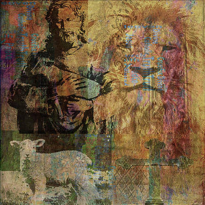 Mixed Media - Lion And Lamb Collage by Angela Holmes
