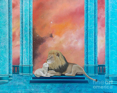 Painting - Lion And Lamb by Tracey Goodwin