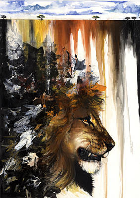 Mixed Media - Lion And The Antelope by Anthony Burks Sr