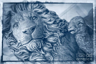 Lion And The Lamb - Monochrome Blue Art Print