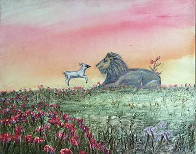 Lion And Lamb Painting - Lion And The Lamb by Renee Smith