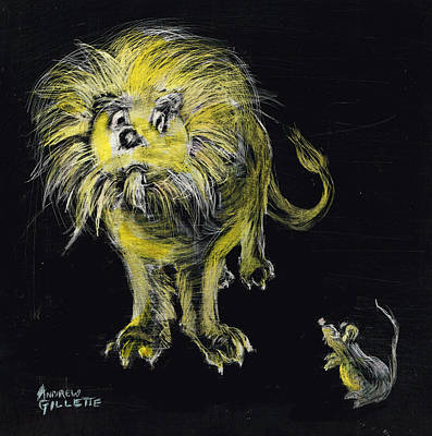 Drawing - Lion And The Mouse by Andrew Gillette