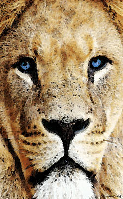 Lion Art - Blue Eyed King Art Print by Sharon Cummings
