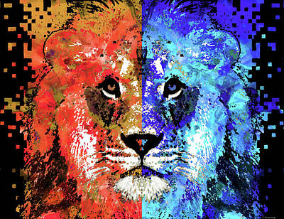 Lion Art - Majesty - Sharon Cummings Print by Sharon Cummings