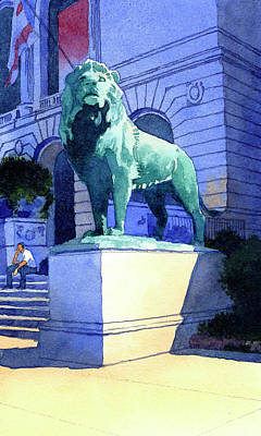 Lion At The Art Institue Of Chicago Art Print