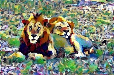 Lion Buddies Art Print