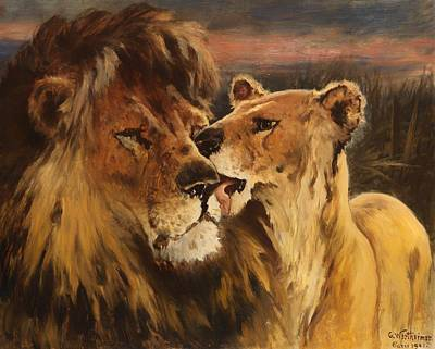 Licking Painting - Lion Couple by Mountain Dreams