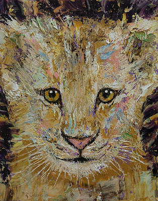 Lion Cub Print by Michael Creese
