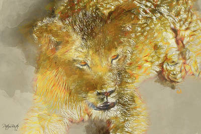 Digital Art - Lion Cub by Petrus Bester