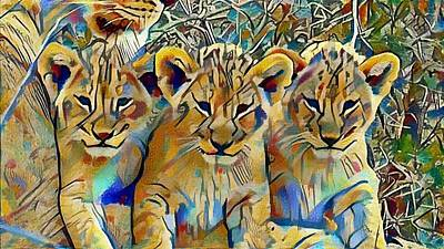 Lion Cubs Art Print