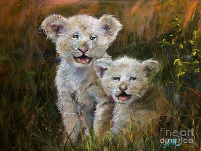 Mixed Media - Lion Cubs by Jieming Wang