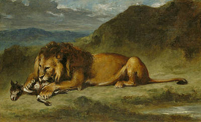 Mountain Goat Art Painting - Lion Devouring A Goat by Eugene Delacroix