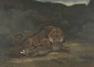 Drawing - Lion Devouring Prey by Antoine-Louis Barye