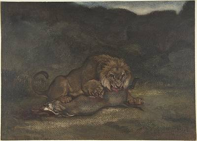 Lion Painting - Lion Devouring Prey by MotionAge Designs