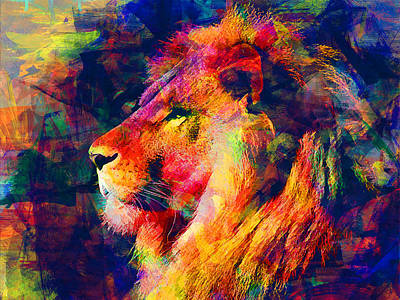 Lion Art Print by Elena Kosvincheva
