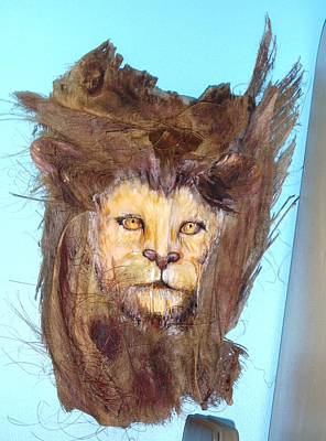 Painted Palm Frond Mixed Media - Lion by Ellen Burns