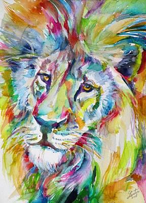 Painting - Lion Face - Watercolor Portrait by Fabrizio Cassetta