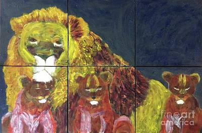 Painting - Lion Family by Donald J Ryker III