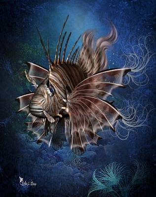 Digital Art - Lion Fish by Ali Oppy