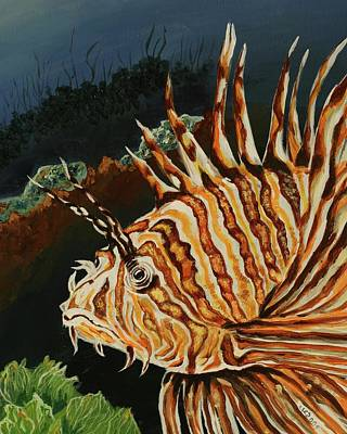 Painting - Lion Fish by Theresa Cangelosi