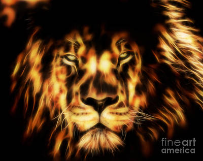 Digital Art - Lion Fractal - Close Up by Tracey Everington