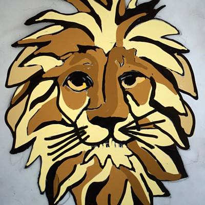 Drawing - Lion Front by Erika Chamberlin