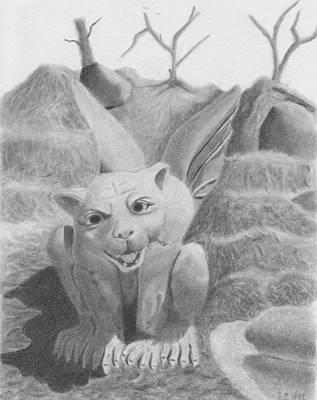 Gargoyle Drawing - Lion Gargoyle by Anne Gregory