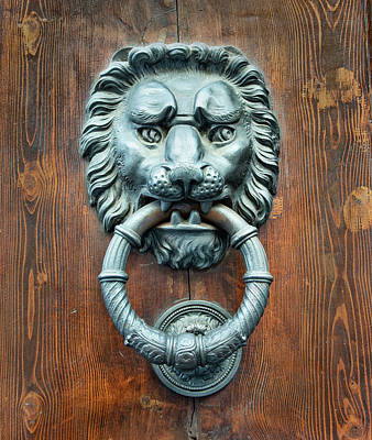 Photograph - Lion Head Door Knocker Venice Italy by Gary Slawsky