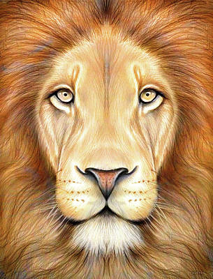 Animals Drawings - Lion Head in Color by Greg Joens