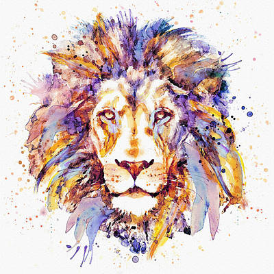 White Background Mixed Media - Lion Head by Marian Voicu