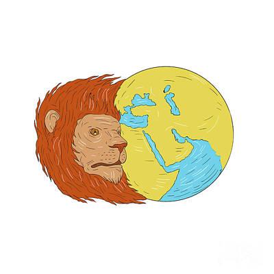 Lion Head Middle East Asia Map Globe Drawing Art Print by Aloysius Patrimonio
