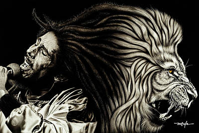 Painting - Lion Heart -bob Marley by Dan Menta