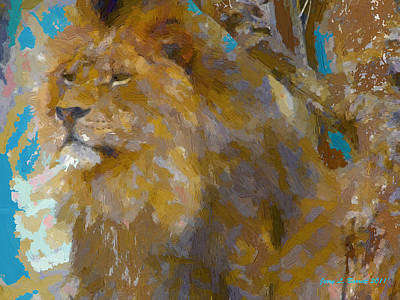 Mixed Media - Lion by Jerry L Barrett