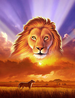 Cat Sunset Digital Art - Lion King by Jerry LoFaro