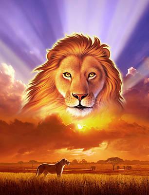 Cat Digital Art - Lion King by Jerry LoFaro