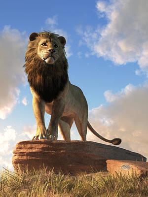 Animals Digital Art - Lion - King of Beasts by Daniel Eskridge