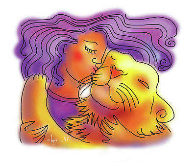 Drawing - Lion Kiss by Angela Treat Lyon