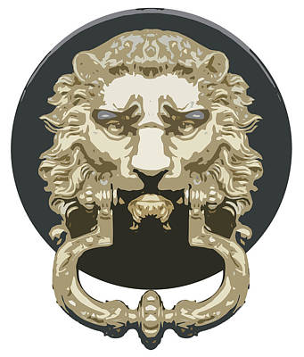Digital Art Digital Art Drawing - Lion Knocker by Greg Joens