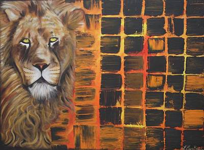 Cat Painting - Lion by Laura Barbosa