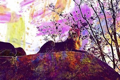 Digital Art - Lion Lioness Wild Wildlife Animal  by PixBreak Art