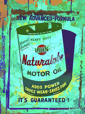 Digital Art - Lion Naturalube Motor Oil Vintage Sign Pop Art by David King