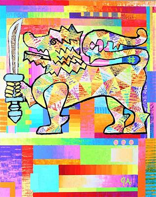 Painting - Lion Of Ceylon by Jeremy Aiyadurai