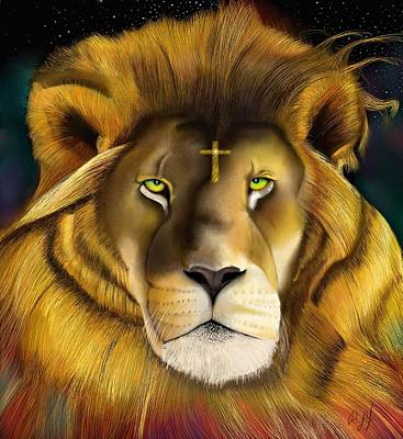 Animals Drawings - Lion of Judah by Douglas Day Jones