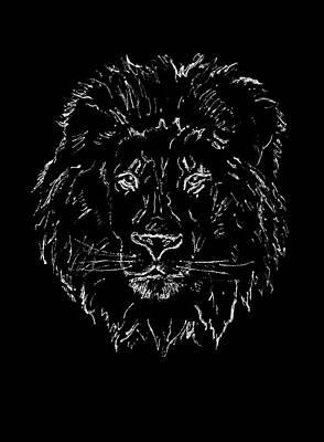 Drawing - Lion On Black Background by Masha Batkova